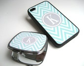 iPhone Case - Gift for Her - Tiffany Blue and White Chevron iPhone 4 Case and Compact Mirror Set with Gray Monogram