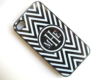 Black and White Chevron iPhone 4 iPhone 5 Case with Monogram  - iPhone 4 4S Cover- iPhone 5- your choice of Case
