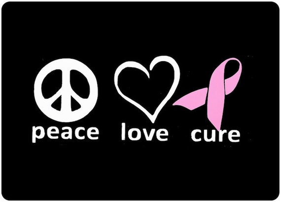 Breast Cancer Decal Peace Love Cure Vinyl Decal Pink