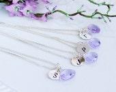 Bridesmaids Necklaces,4 Piece Set,Bridesmaid Necklace Set,Quartz,Purple,Lavender,Sterling Silver,Wedding,Bridal Jewelry,