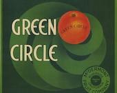 GREEN CIRCLE Orange art deco crate label, Riverside