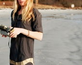 organic cotton black and bronze shirt dress
