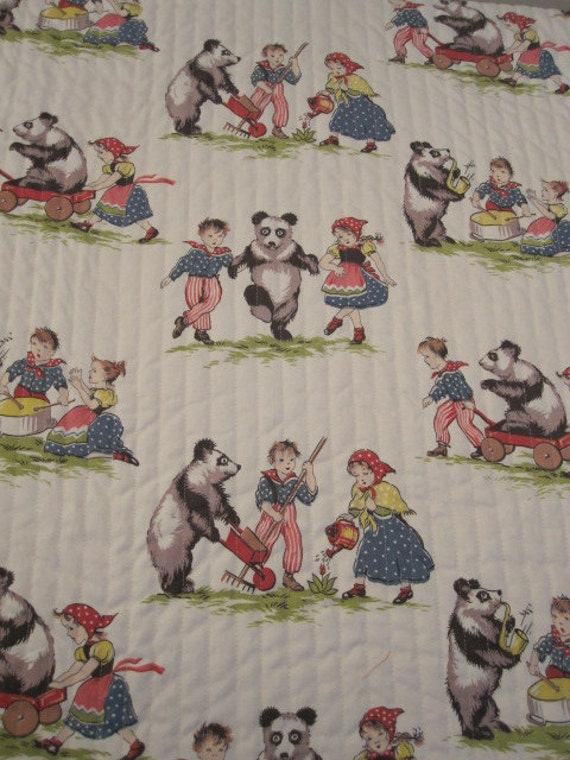 Items similar to vintage fabric baby quilt on etsy for Retro baby fabric