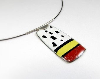 Enamelled Pendant, Colorful, Modern Pendant, Contemporary, Geometric, Enamel, OOAK