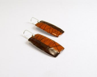 Enamelled  Earrings, Lines, Orange, Brown, Chocolate, Modern, Contemporary, Enamel, Copper, Sterling
