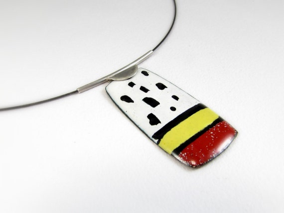 Enamelled Pendant, Colorful, Modern Pendant, Contemporary, Geometric, Enamel, OOAK