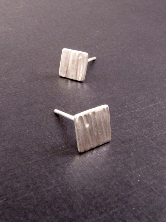 Sterling silver earrings - Textured Squares - Ear Studs -
