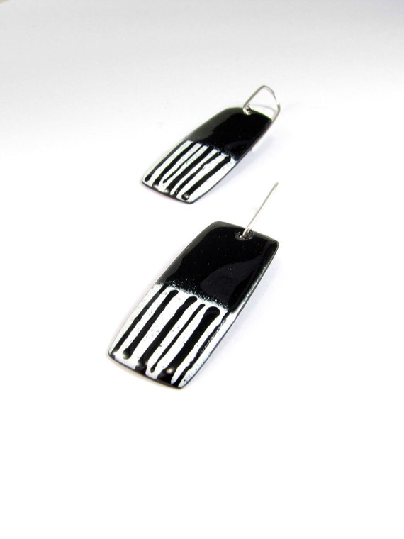 Enamelled Earrings, Black, White, Modern, Contemporary, Colorful, Lines, Enamel, Copper, Sterling
