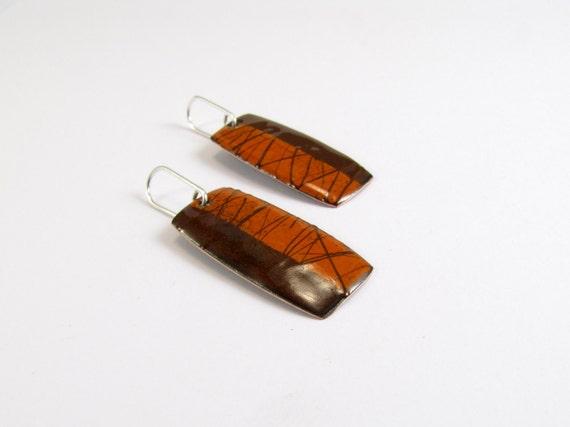 Enamelled  Earrings, Lines, Orange, Brown, Chocolate, Modern, Contemporary, Enamel, Copper, Sterling