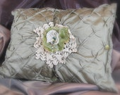 Vintage Inspired Altered Sage Green Lace Beaded Flower Pillow by Tutti Fiori Designs