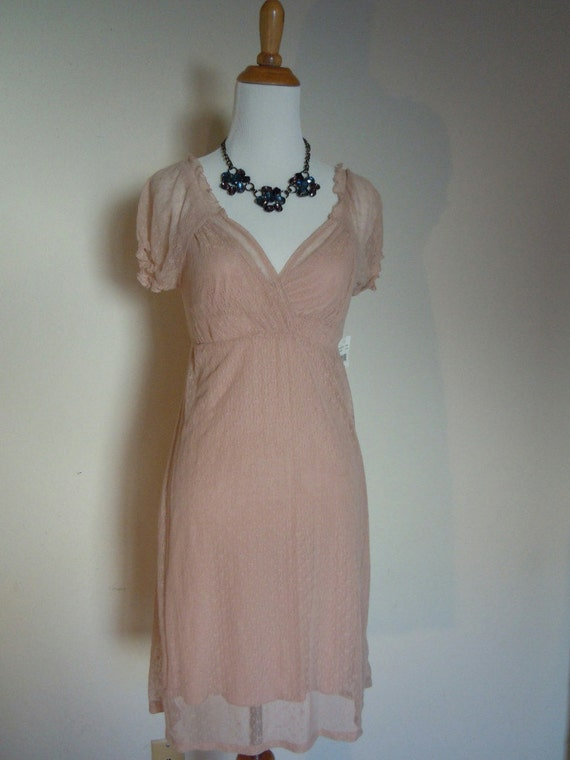 NWT - 1990s Light Pink Stretch Lace over Slip