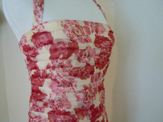 Designer Vintage Silk Floral Halter Day Dress with Red and Pink Flower Design