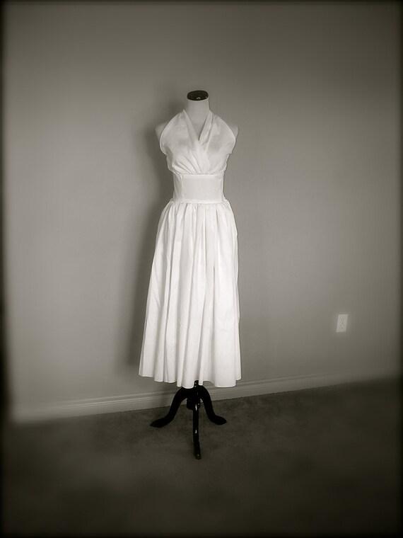 50's Inspired Cotton Halter Dress with Tea Length Skirt