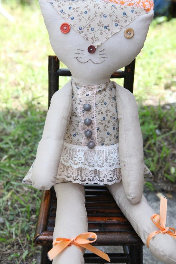 SALE Vintage style Cat doll, these dolls are on sale the actual price is 28