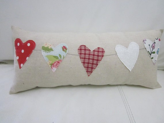Heart applique pillow, express your love in a pillow with lovely hearts