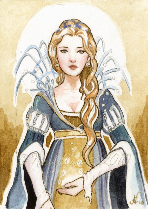 ACEO Blue & Gold fairytale lady limited edition print