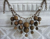 Antique Middle Eastern Tribal Necklace with Sculptural Brass Seed Pod Pendants
