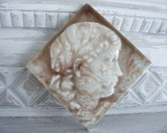 Antique Tile by Isaac Broome:  Victorian Portrait Tile of Young Gypsy Girl