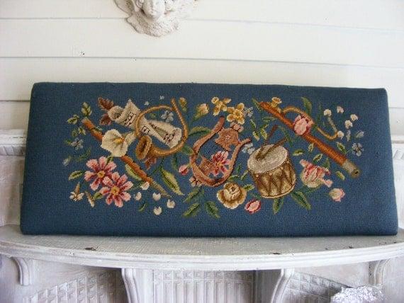 Piano Bench Cushion >> Vintage Piano Bench Needlepoint Cushion Musical Theme