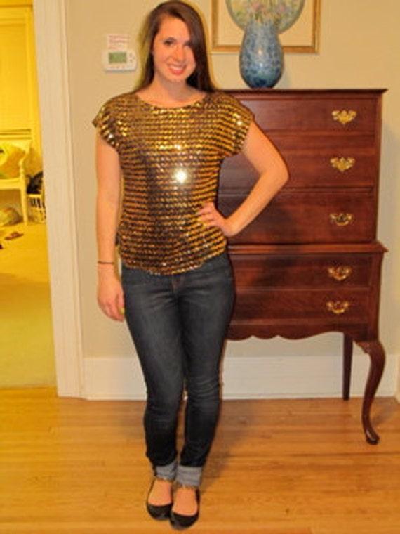 Sequin Top Sequin Shirt Black and Gold Sequin Blouse Purdue Shirt