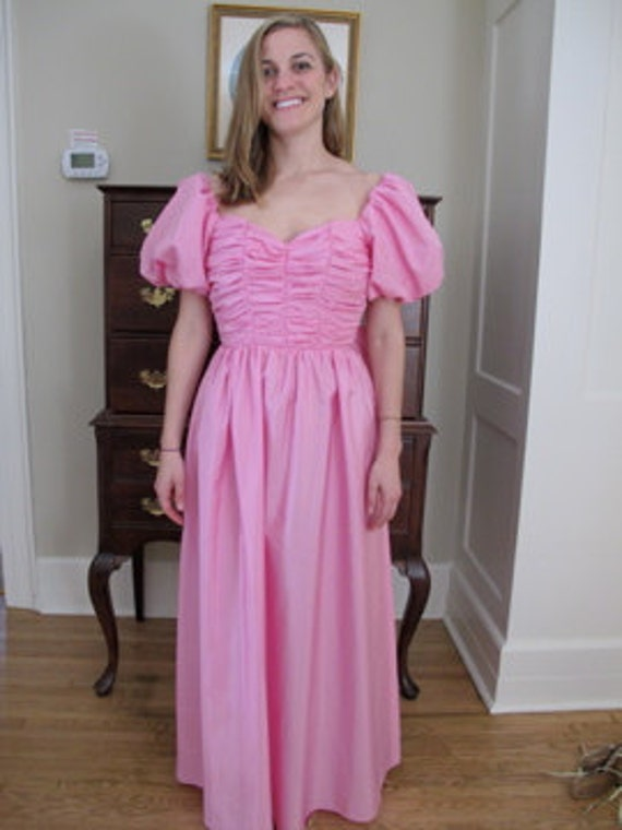 80's Prom Dress with Poofy Sleeves 80s Dress Pink Dress