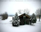 Winter Barn in Snow Photograph 8 x 10 inch by J. L. Fleckenstein