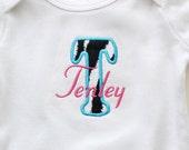 Personalized Pink & Turquoise Zebra Shirt or Bodysuit