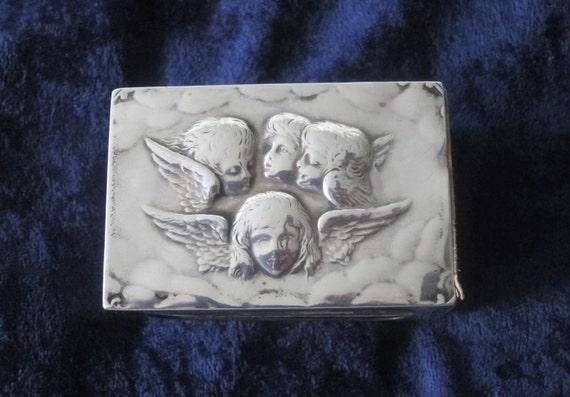 Old sterling silver matchbox holder Edwardian Cherubs