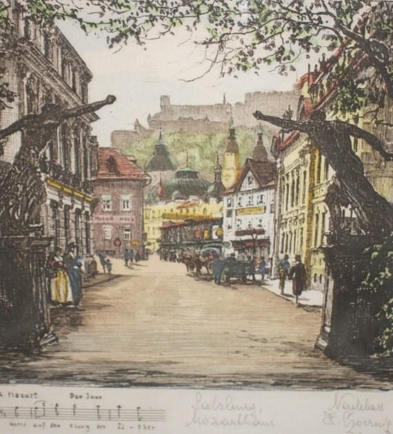Mozart Framed Engraving, Hand colored signed Henry Goering