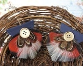 Autumn Passion - Brown, Black, White Feather Earrings Embellished with Buttons - FREE SHIPPING