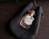 Perfume Bottle Necklace - Leather Pouch - Love Potion Message
