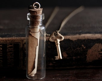 Message in a Bottle Necklace with Tiny Brass Skeleton Key