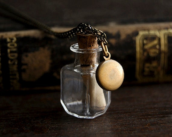 Message in a Bottle Necklace with Tiny Brass Locket