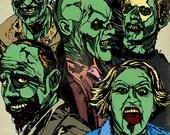 81/2 x 11 Inch Zombie Horde 2 Graphic Print
