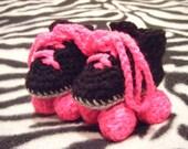 Crocheted baby roller derby rollerskates baby shower gift roller skates