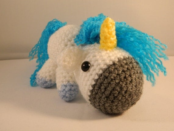 Unicorn Amigurumi Yarn Yard : Charles the unicorn amigurumi so fluffy blue by ...