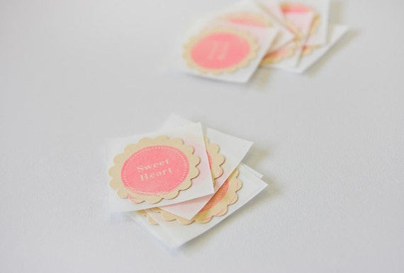Sweet Heart Pink Stamped Gift Wrap Stickers Wedding Envelope Seals