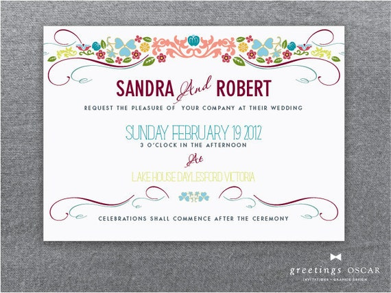 DIY Printable Quirky Wedding Invitation & RSVP - Matilda