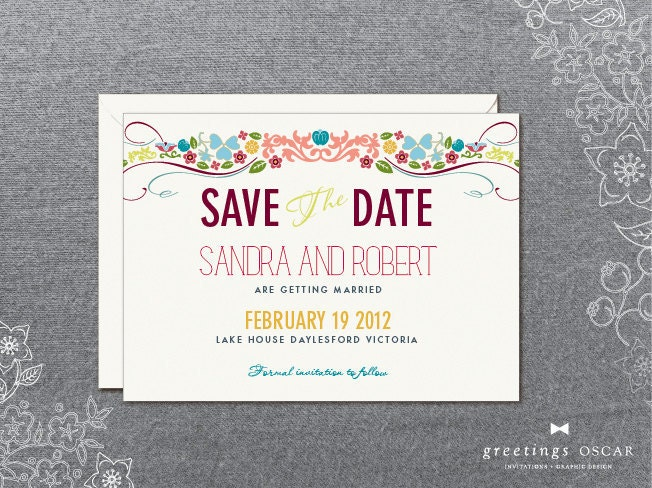 diy quirky printable save the date card