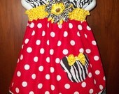 Disney dress minnie mouse outfit Birthday Party applique zebra bow Peasant  AVAILABLE in sizes 6 9 12 18 months 2t 3t 4t 5 6 7 8 10