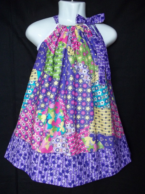 Items similar to butterfly patchwork Dress print Pink purple polka dot turquoise polka dots ...
