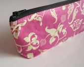 Small cosmetic travel bag - Zippered purse - Pencil case  - Pink, Black - Palace Conversations in Berry