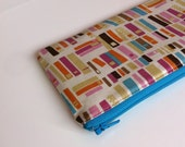 School pencil case - Cute Kids zippered pouch - Blue, White, Orange - Books in Multi