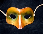 Leather Mask (cut, punched, hand-painted, many-coloured)