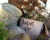 RESERVED for Liz - Set of 3 vintage Galvanized Bucket 's - An Etsy Treasure Item - Garden decor - Rustic