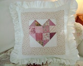 """RESERVED for Jane - Quilted Patchwork HEART Pillow Cover - 22"""" Square - Down Alternative Insert Included - An Etsy TREASURE x 3"""