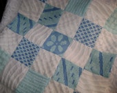 WATER Baby - Aqua and Blue Vintage Chenille Quilt,  Baby, Crib or Throw - 36 x 36 - Ready to Ship