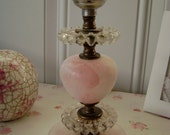 Petite, Pink Alabaster and Candlewick Glass Boudoir Lamp - Cottage Chic - Paris Apartment - Romantic