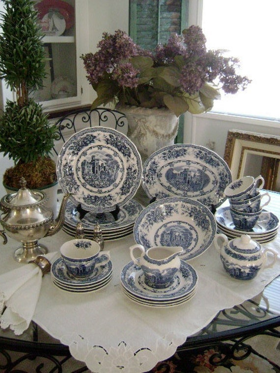 SALE, Nikko 30 pc Blue Castle & Garden with Roses Dinnerware - 'Double Phoenix' - Etsy Treasure x4