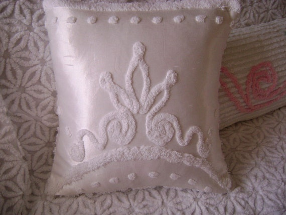 """Boho-Chic Gypsy Crown - Vintage Chenille and White Satin - 16"""" Decorator Pillow"""